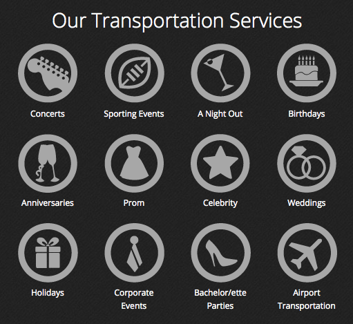 Event Shuttle Service icons